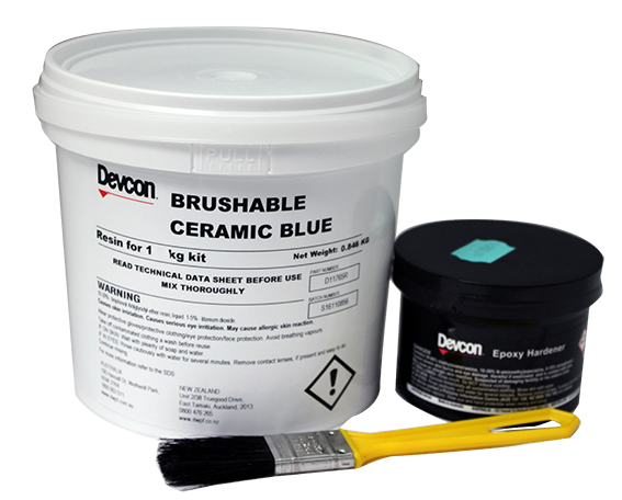 Brushable Ceramic – Alumina filled brushable epoxy for sealing, protecting and repairing surfaces subject to erosion, corrosion and wear
